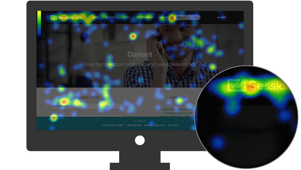 Heatmap overlaid on SessionCam website