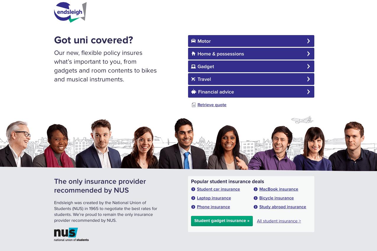 Screenshot Of Endsleigh Insurance Website