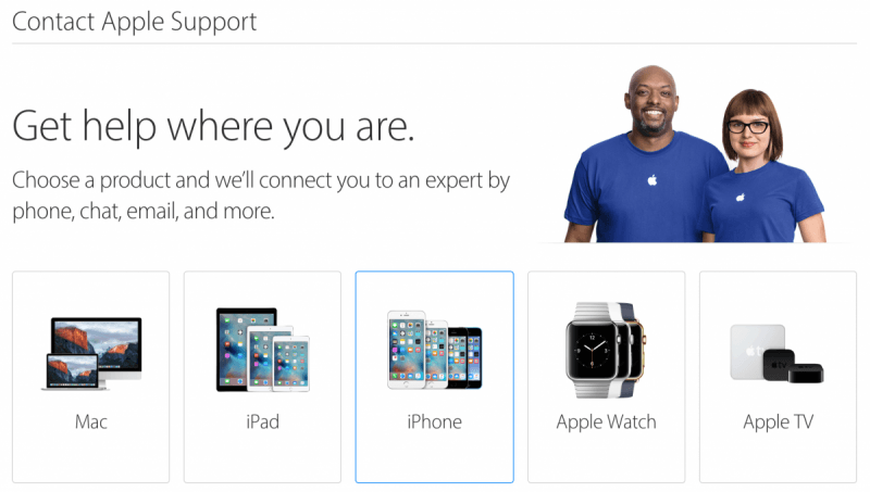 Apple's customer service page