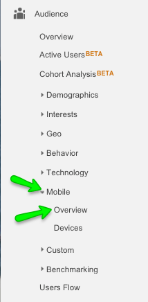 Screenshot showing how to find Google Analytics mobile v desktop report