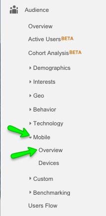 Screenshot showing how to find Google Analytics mobile v desktop report