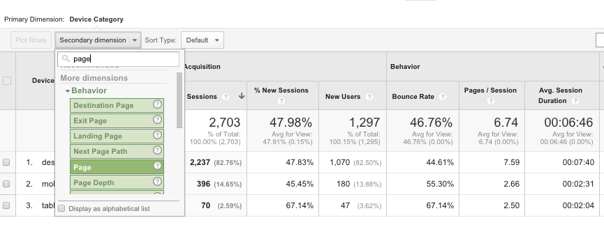 Screenshot of Google Analytics mobile v desktop report