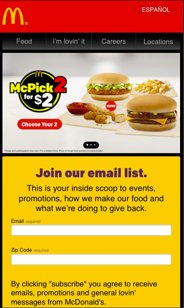 McDonalds mobile sign-up page