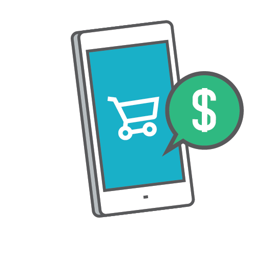 Illustration Of Mobile Phone With Shopping Cart And Dollar Sign