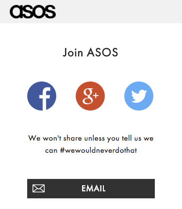 ASOS mobile sign-up page
