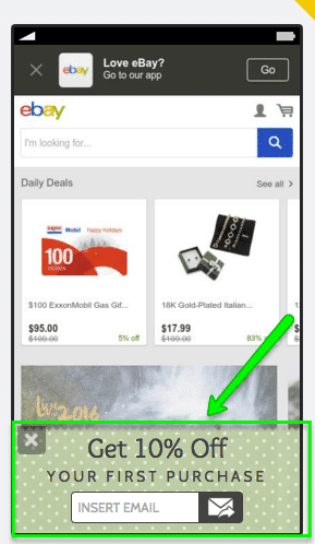 ebay's mobile landing page voucher