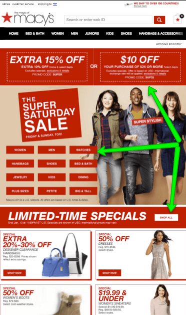Macy's mobile landing page