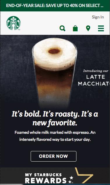 Starbucks mobile landing page