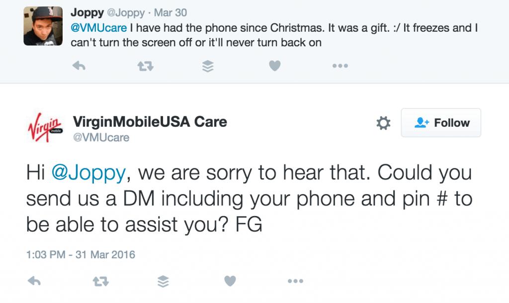 Customer service tweet from virgin mobile