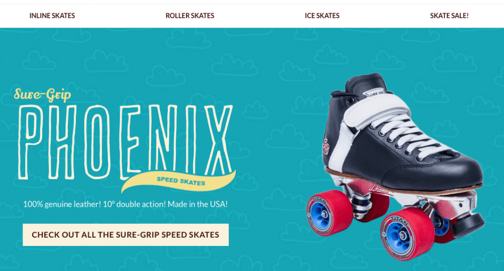 Clean example of site selling skates