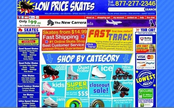 Very busy website selling roller skates