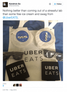 Picture of special offer goodie bag from Uber
