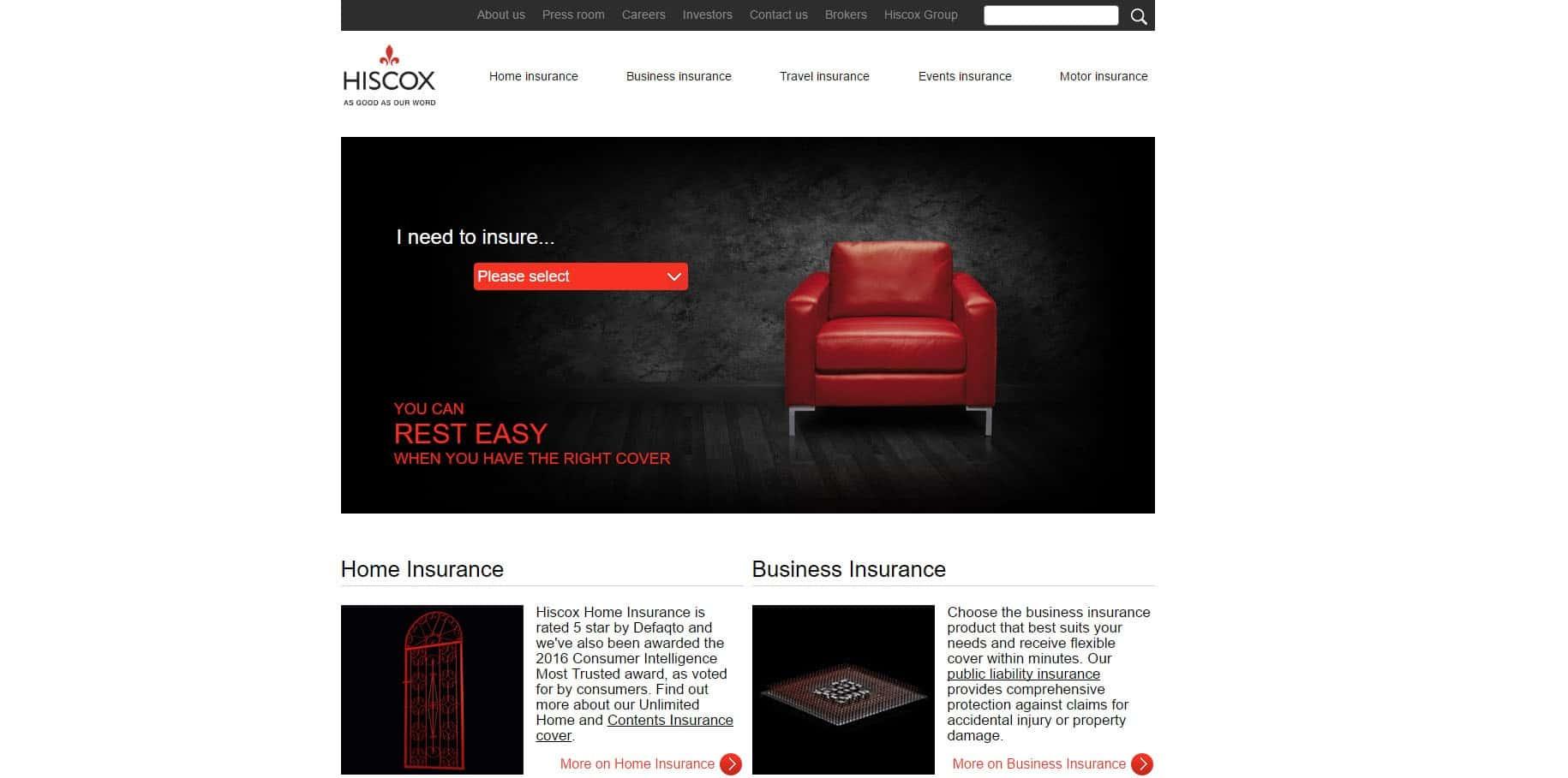 Hiscox Website - Screenshot