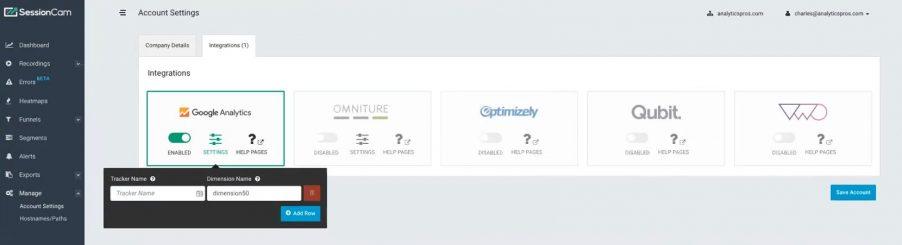 SessionCam integration screen