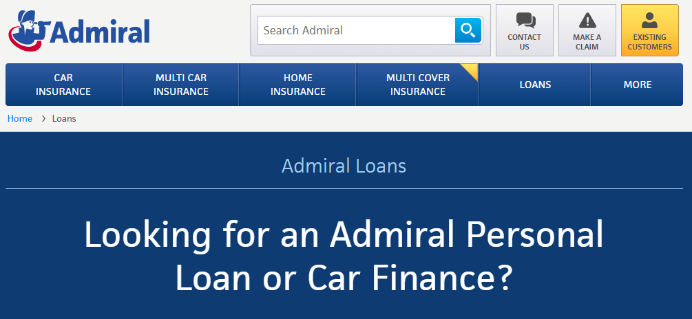 Admiral Loans Home Page