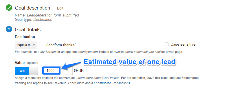Google Analytics Value Per Conversion