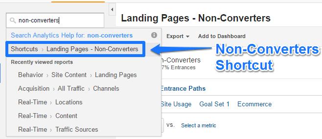 GA Non-Converters Shortcut