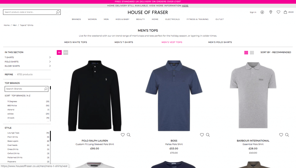 House of Fraser desktop filtering on a product listing page.