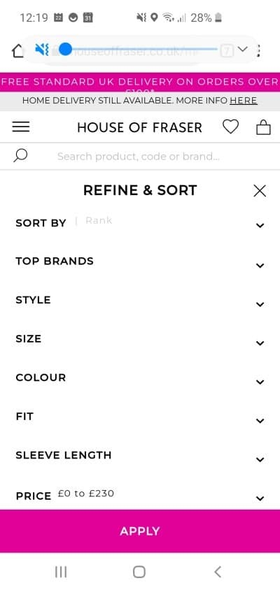 House of Fraser mobile filtering on a product listing page.